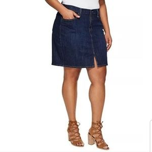 Levi's Dark Wash Denim Stretch Skirt w/ Front Slit